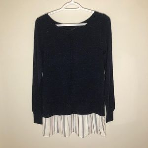 RW&CO sweater mixed media navy and white blouse